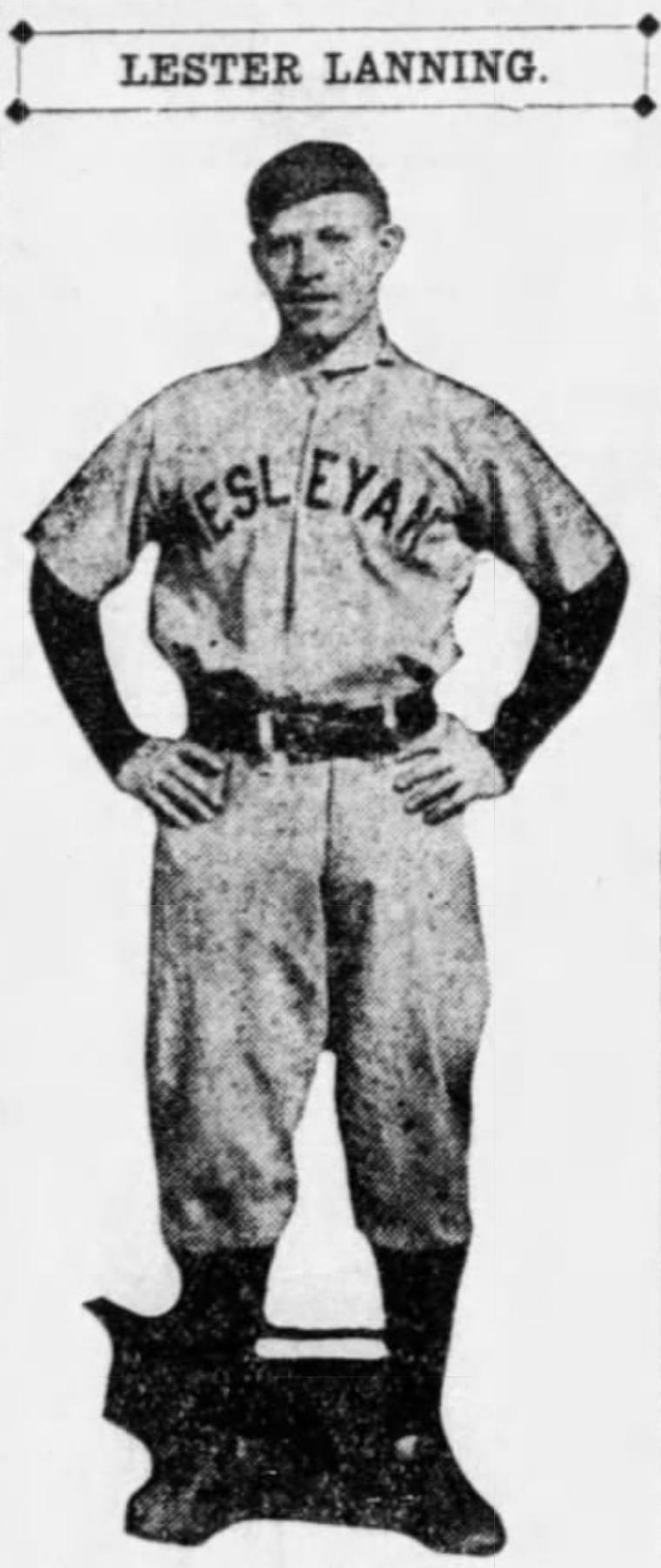 Lester Lanning, Outfielder, Hartford Poli's and Wesleyan University graduate, 1917.