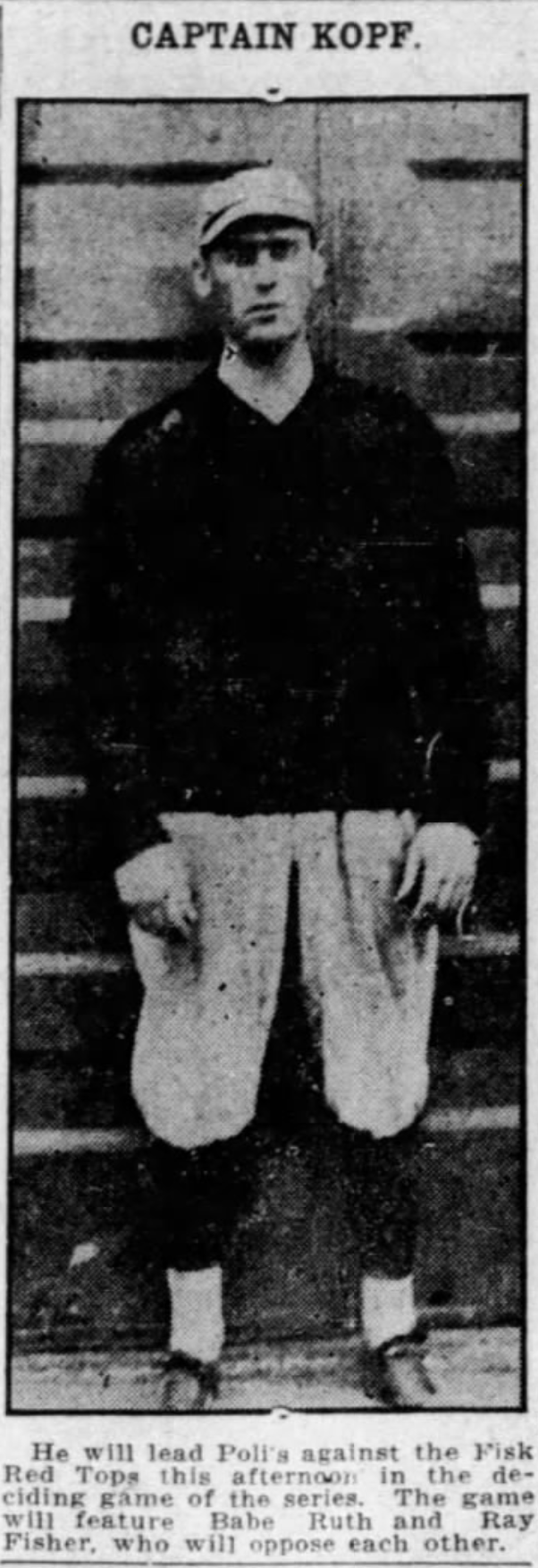 Bill Kopf, Shortstop, Hartford Poli's, 1918.