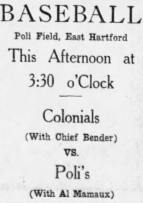 New Haven Colonials vs. Hartford Poli's, 1918.