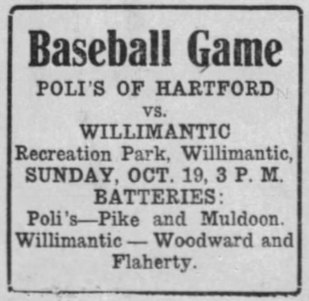 Hartford Poli's vs Willimantic, 1919.