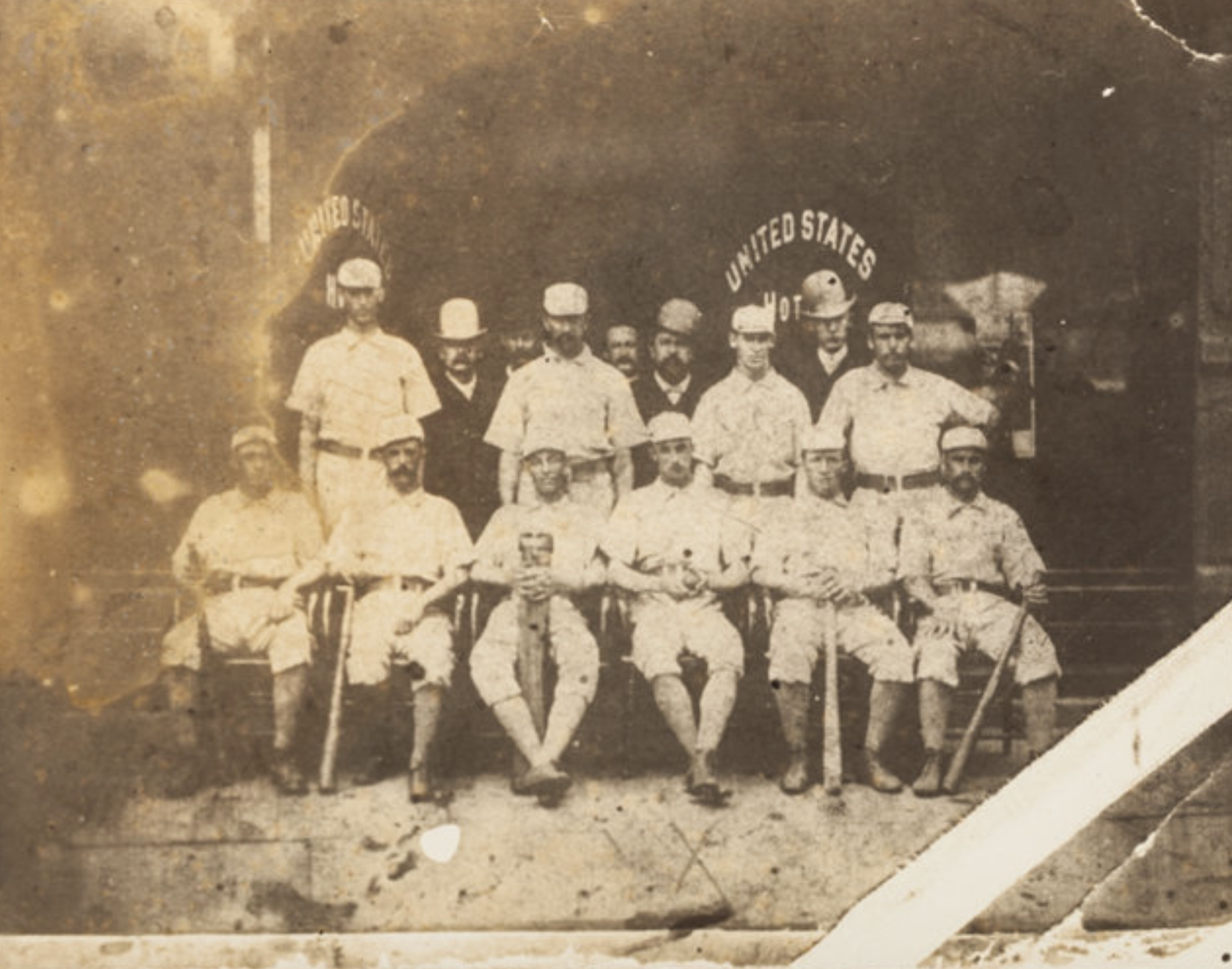 The Hartford Base Ball Club pose outside the United States Hotel, Hartford, Connecticut, 1876.