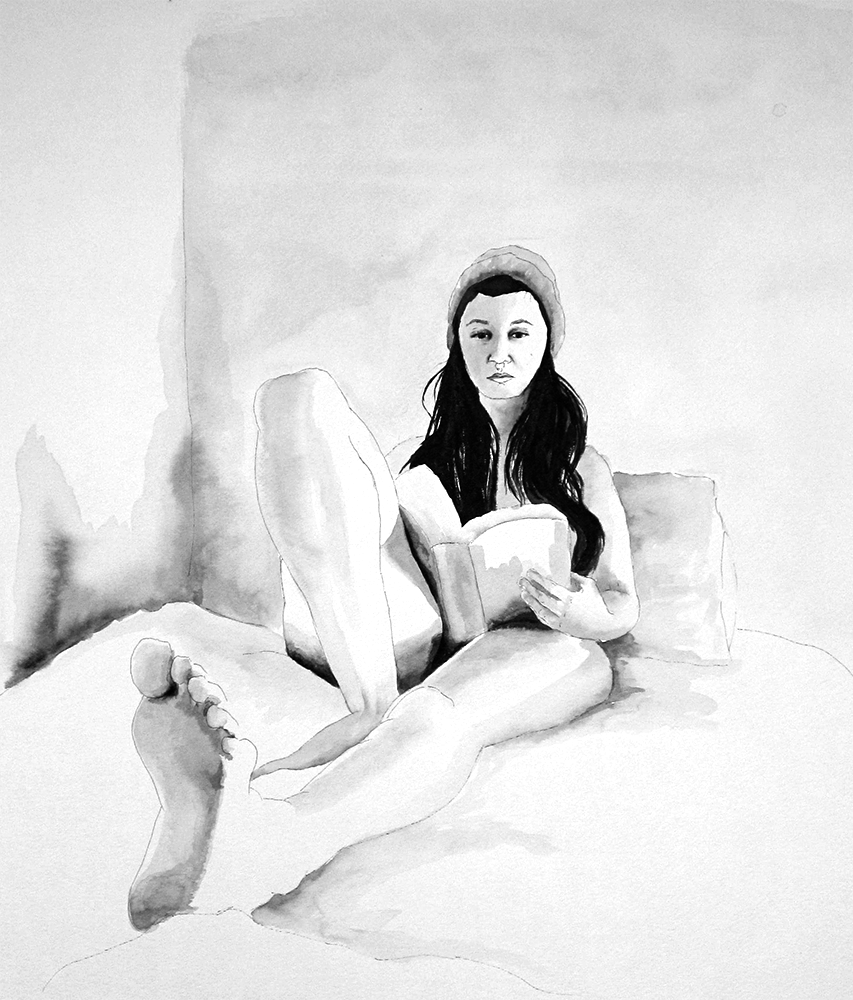 V Reading , ink wash on paper, 2014
