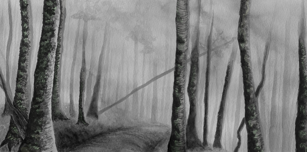 Misty Trees , ink wash and digital color, 2016.  Buy prints on Society6.