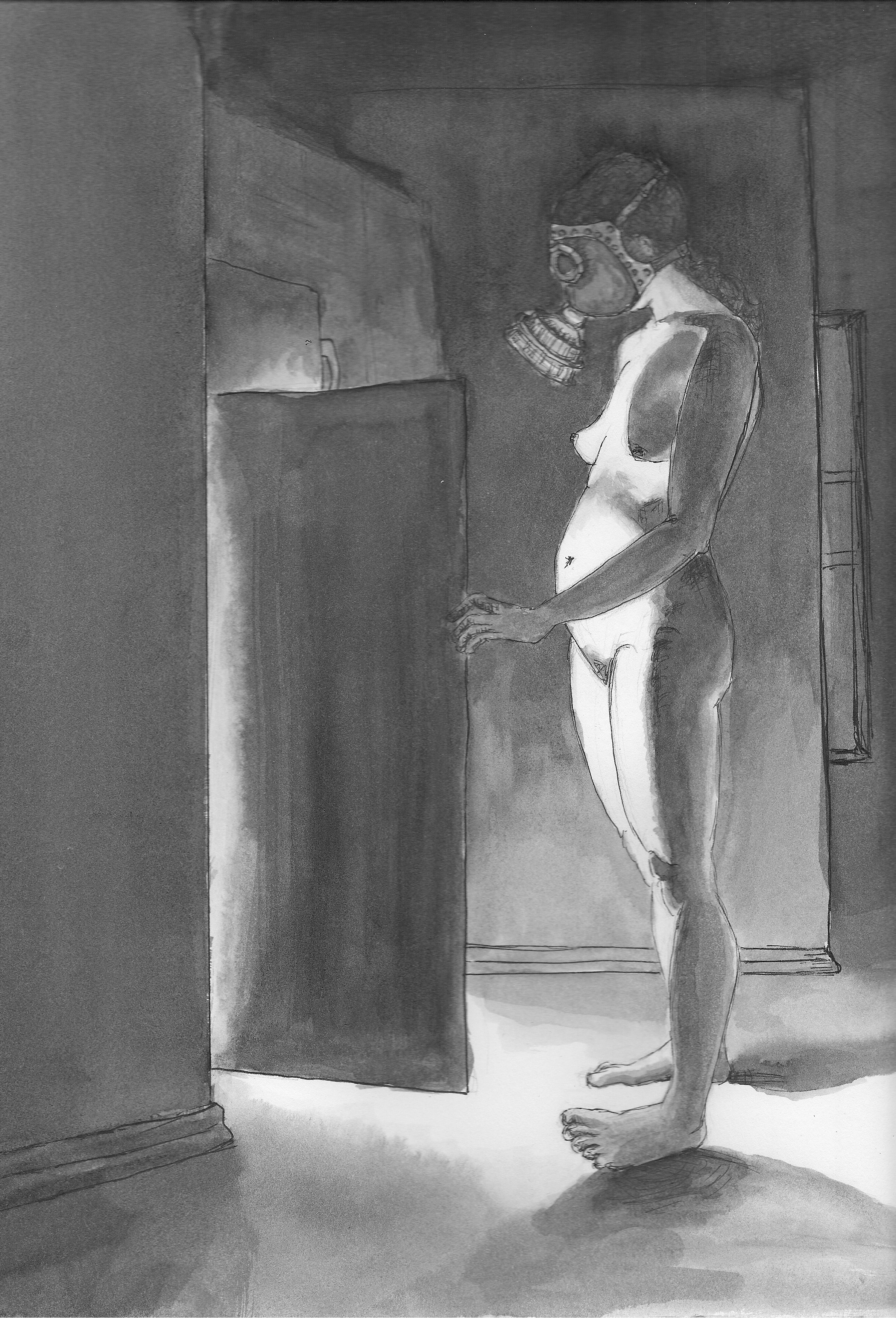 Midnight Snack,  ink wash on paper, 2012.   Buy prints on Society6.