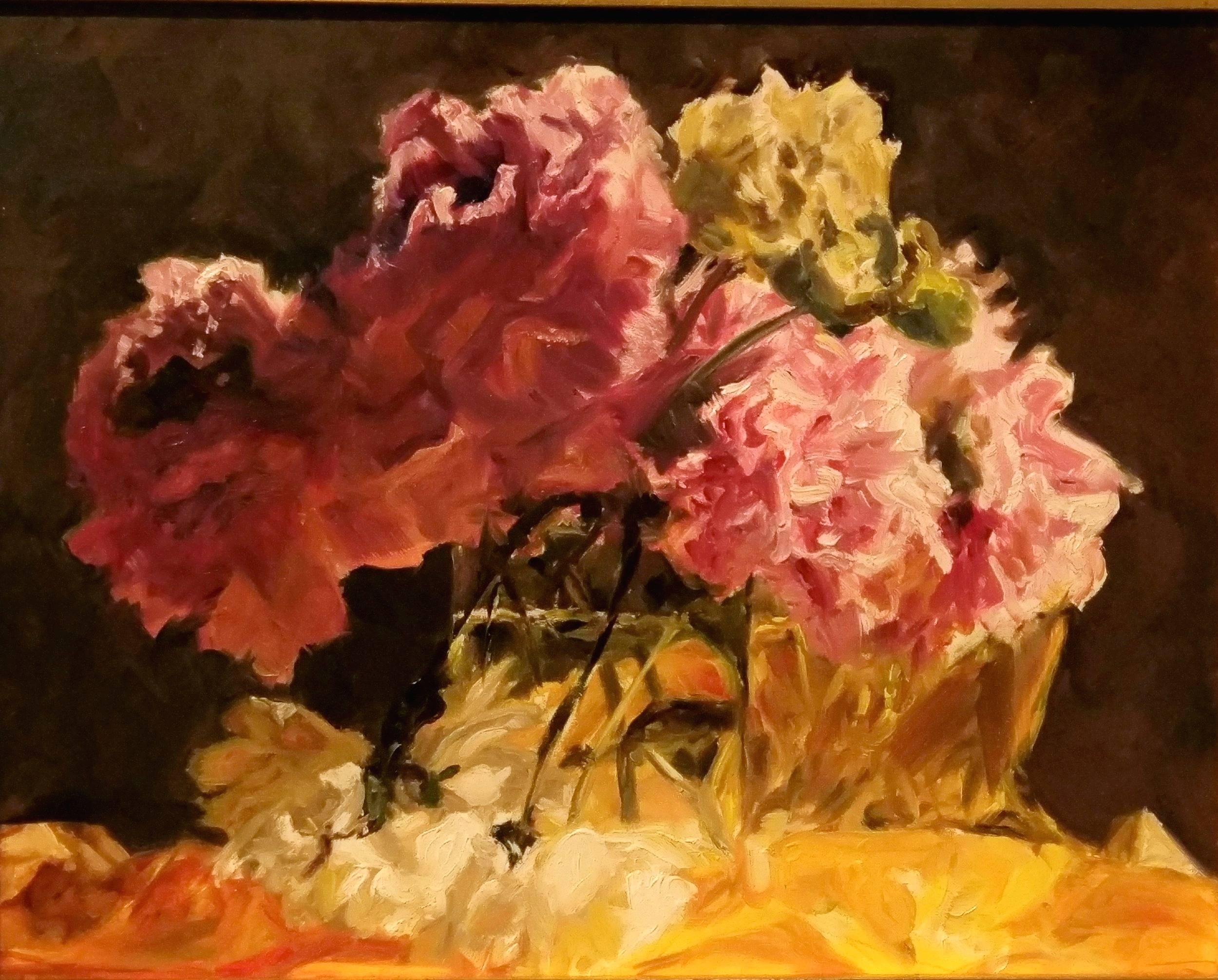 Peonies on Gold Paper