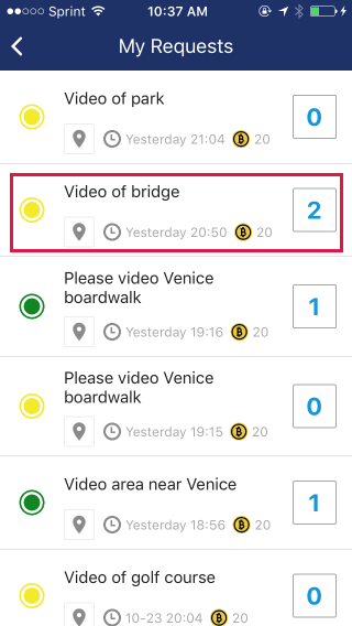 2. Select request you want to review. The box to the right is number of responses to your request.