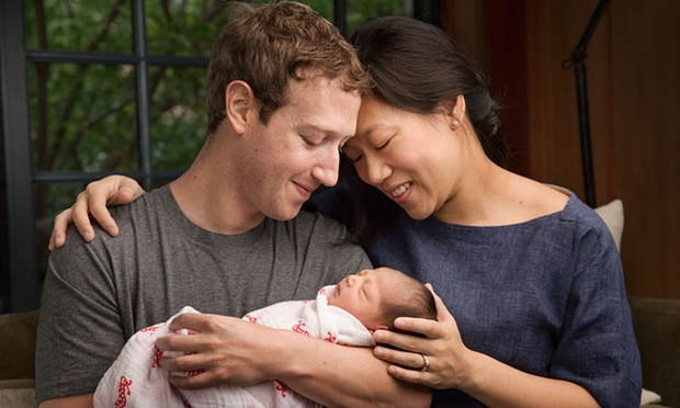 Zuckerberg with his wife, Priscilla Chan, and their new daughter Max. Photograph: AFP/Getty Images