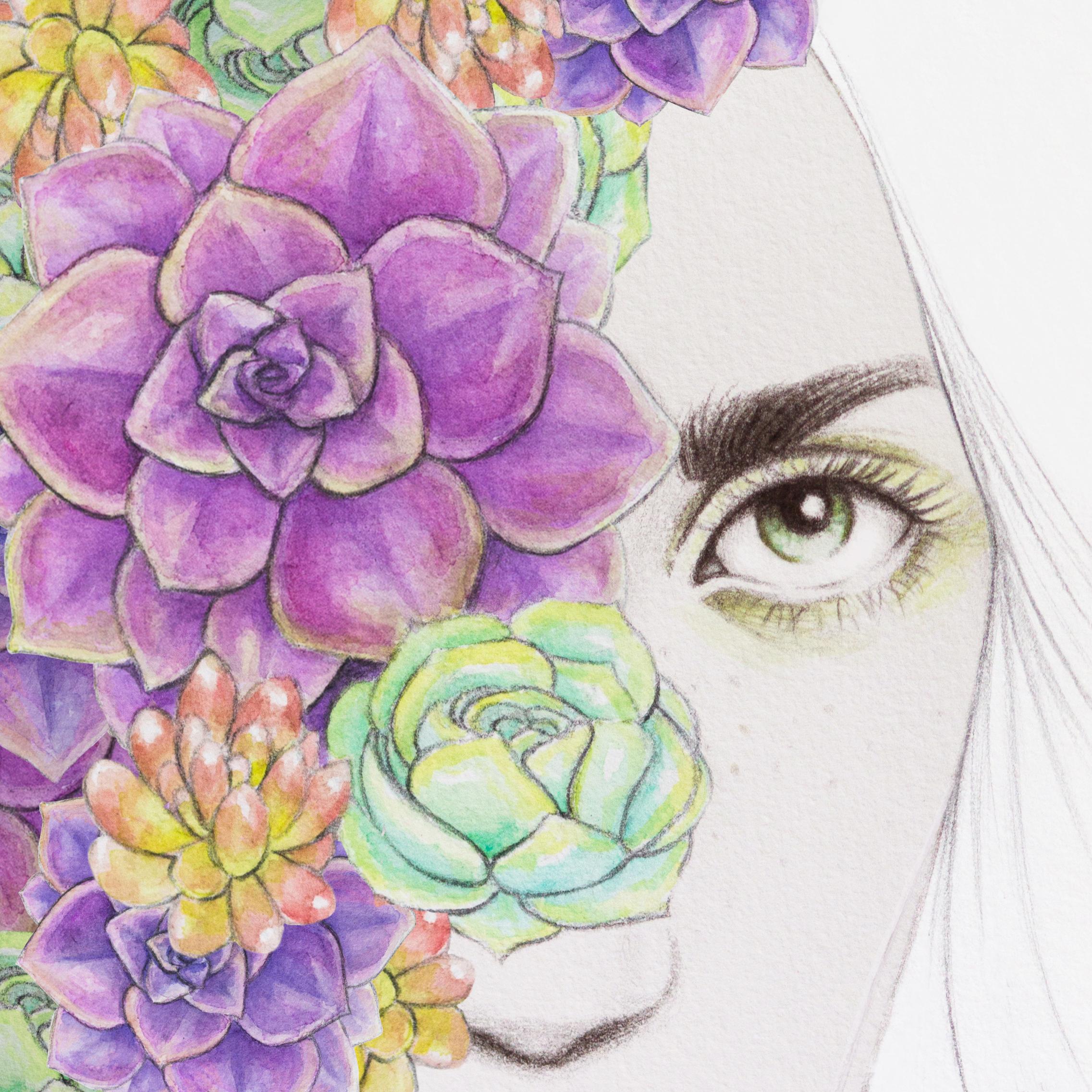 Succulent Girl in a Technicolor Dream World