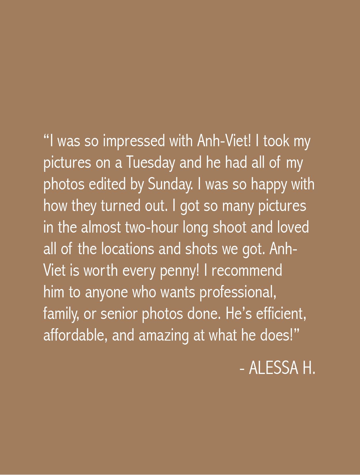 Alessa Testimonial Anh-Viet Dinh Photography