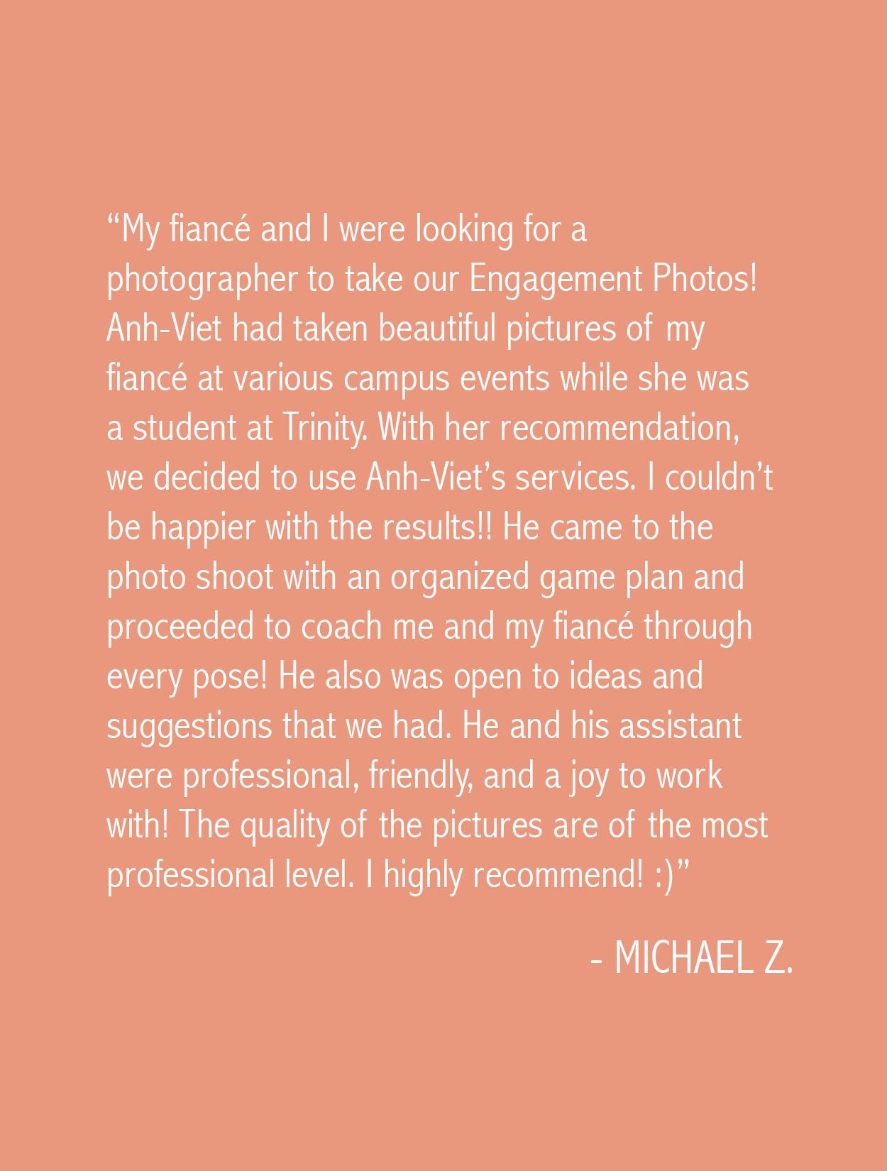 Michael Zuniga Testimonial Anh-Viet Dinh Photography