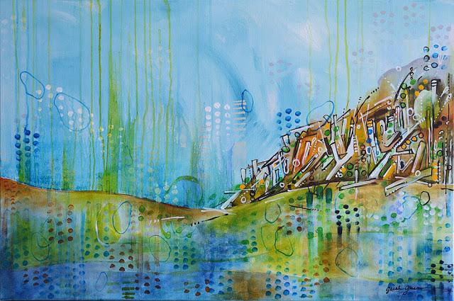 "Erosion Control    36"" x 24"" acrylic on canvas"
