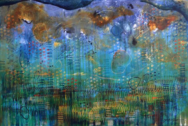 "Midnight Marsh    36"" x 24"" acrylic on canvas"