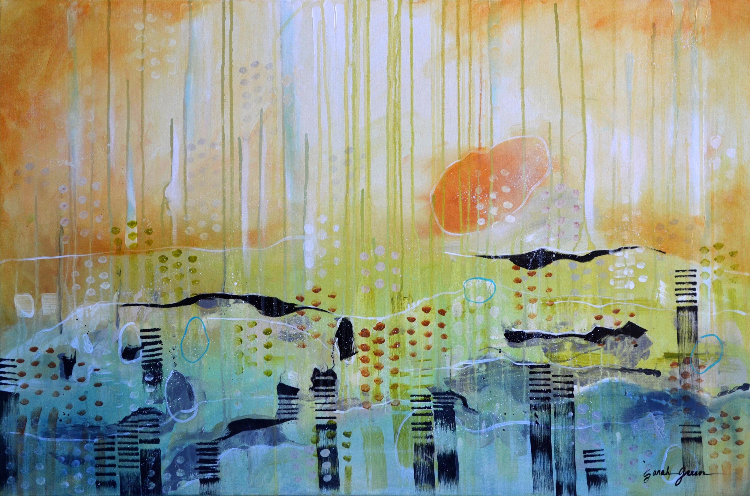 """October Sun    36"""" x 24"""" acrylic on canvas"""