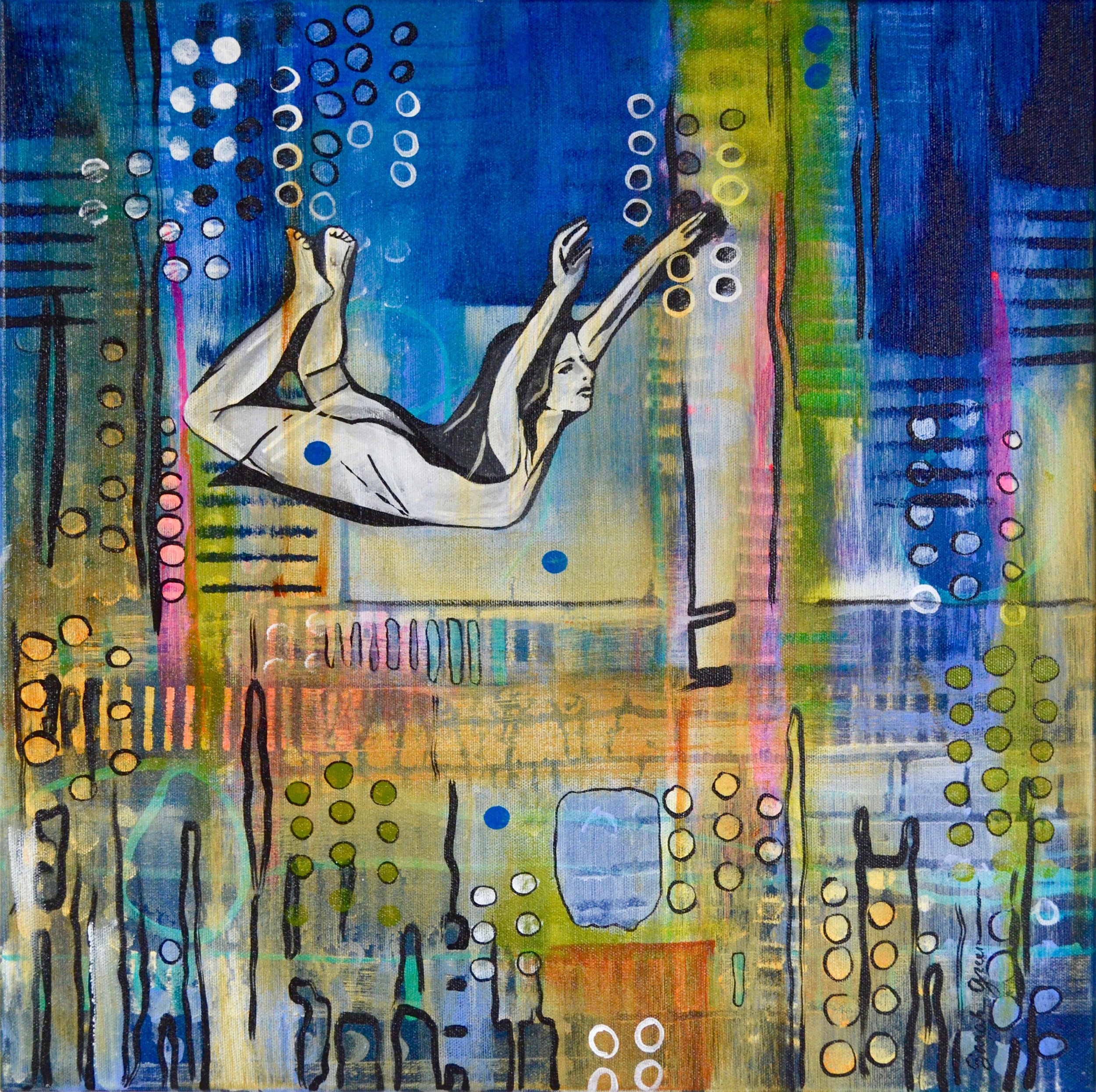 Strip Off the Shadows  | 18 x 18 inch acrylic on canvas