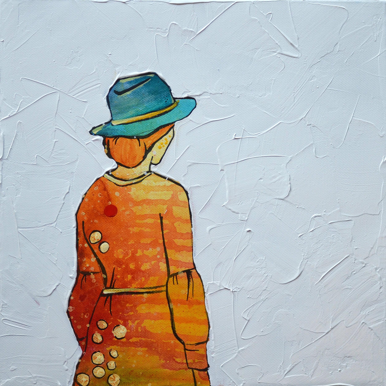 Blue Hat  | 12 x 12 inch acrylic on canvas