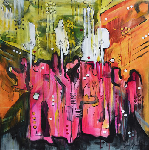 Pink Sari Gang  | 24 x 24 inch acrylic on canvas