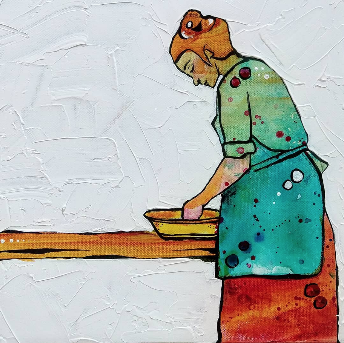 Apron Hours 1  | 12 x 12 inch acrylic on canvas