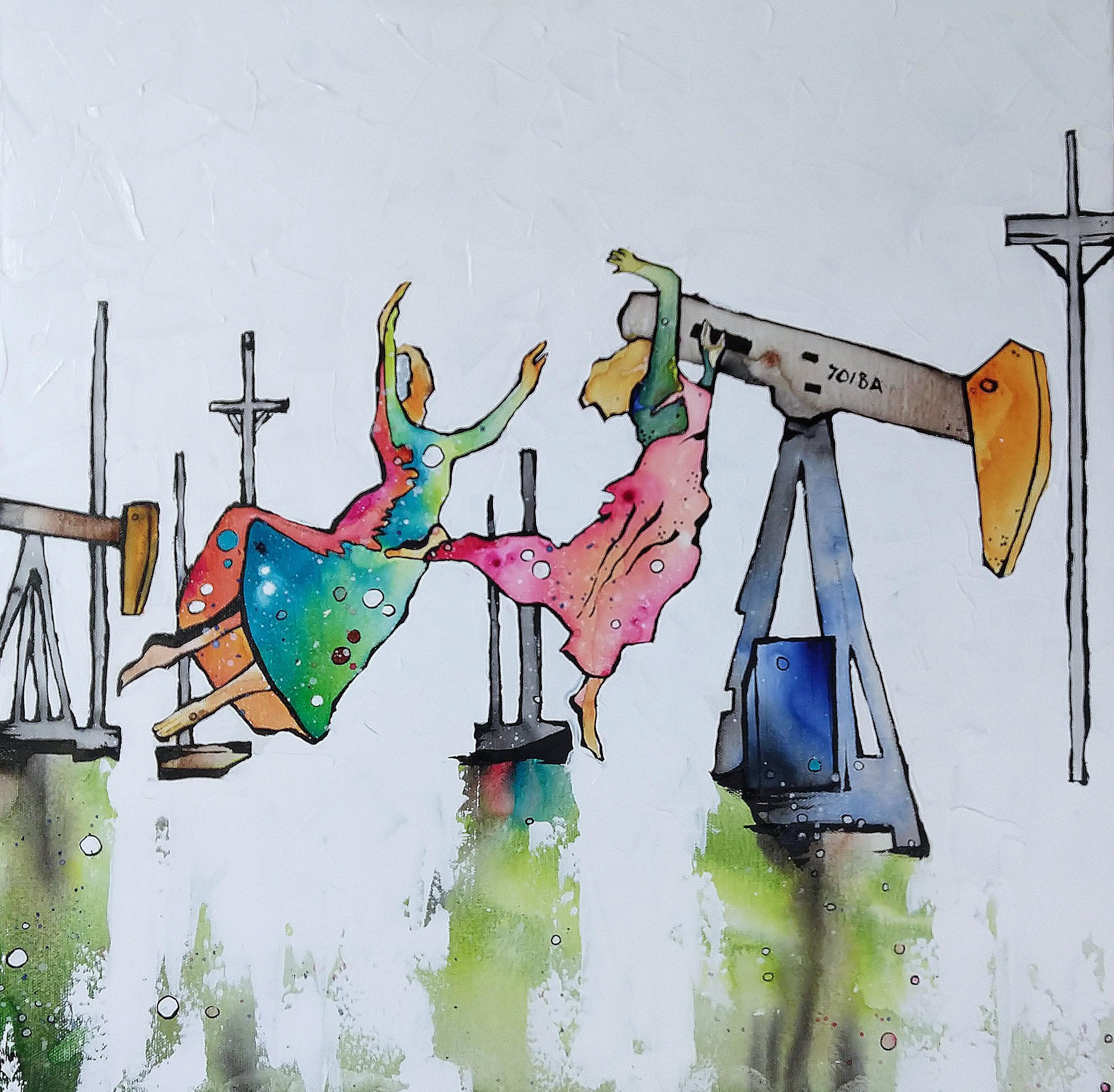 Maypole  | 20 x 20 inch acrylic on canvas