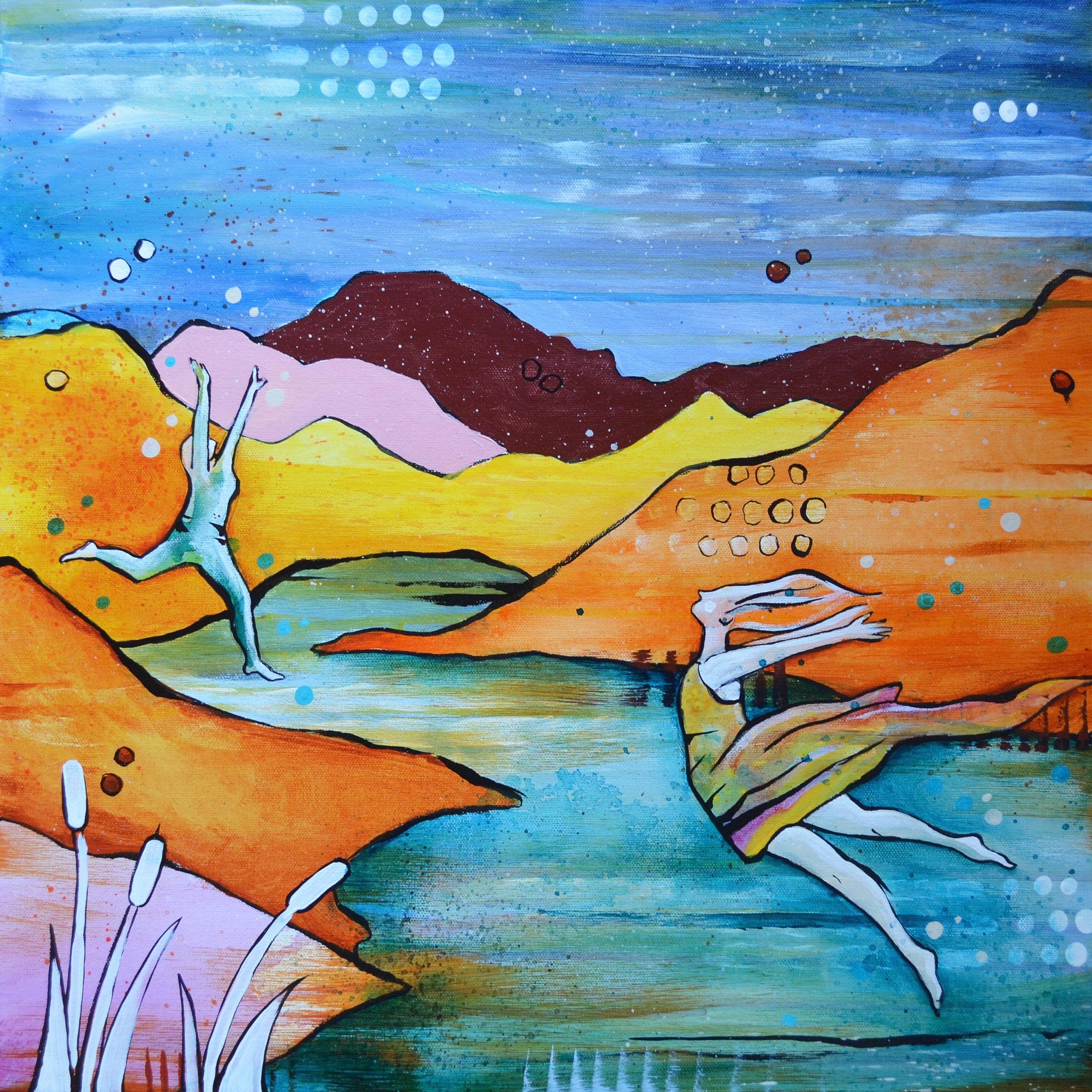Sunday on the Snake  | 20 x 20 inch acrylic on canvas