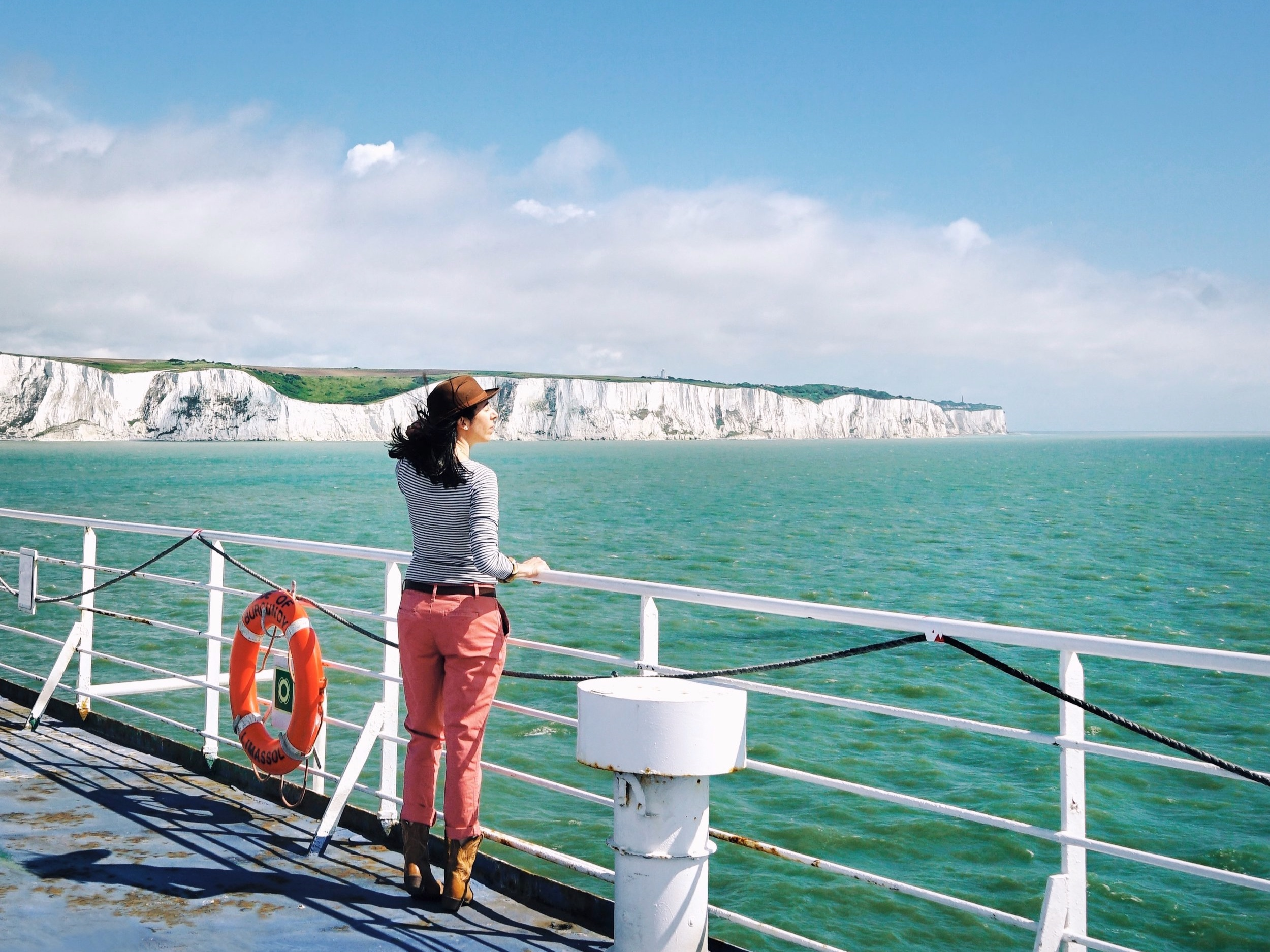Taking in the White Cliffs of Dover from the deck.