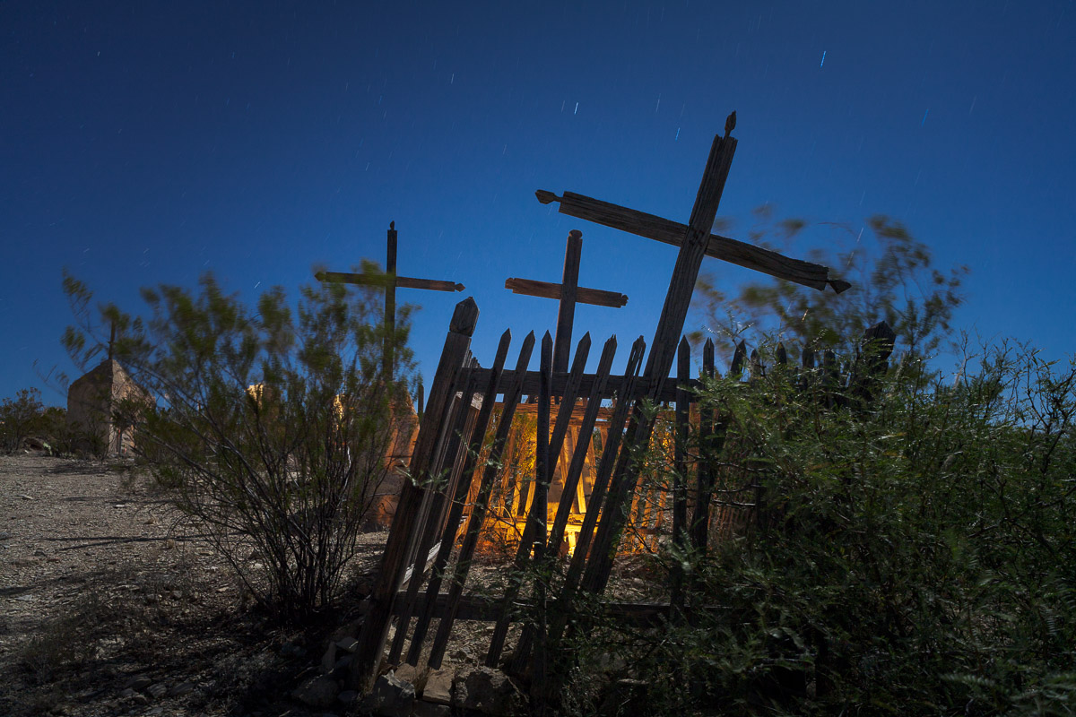 Tres Cruces, Terlingua, 2007. ISO 200, 5 minutes, f/8. Canon 5D, Nikkor 28mm f/3.5 PC lens. Nearly full moon.