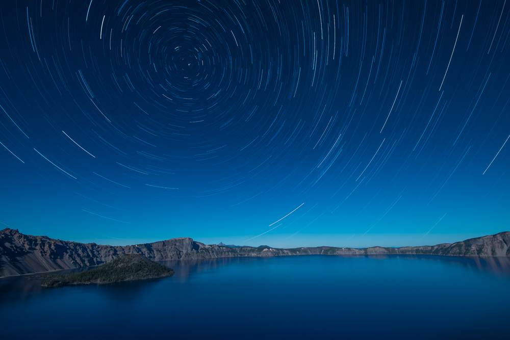 When I have clear night skies and lots of stars, like on this night at Crater Lake National Park, I try to shoot as wide as possible to include as many stars as I can—in this case with a 15mm.