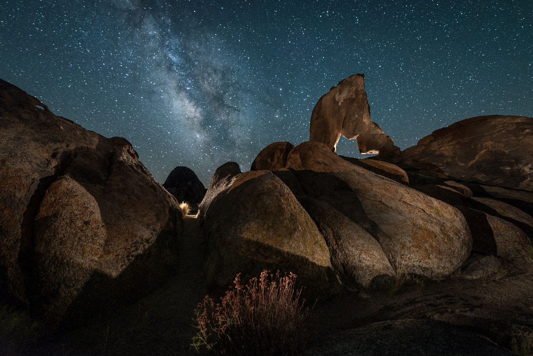 The Alabama Hills in California's Eastern Sierra are a great location for night photography and light painting.