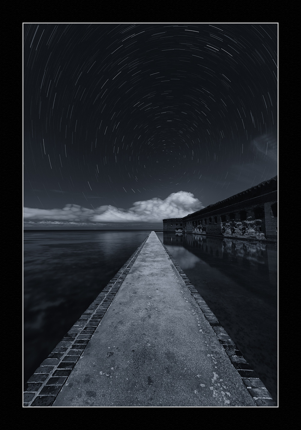 Star stack over the moat wall at Florida's Dry Tortugas National Park. © 2016 Gabriel Biderman.