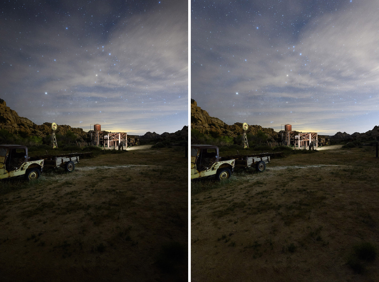 Figure 6. Before applying lens profile corrections (left) and after (right).