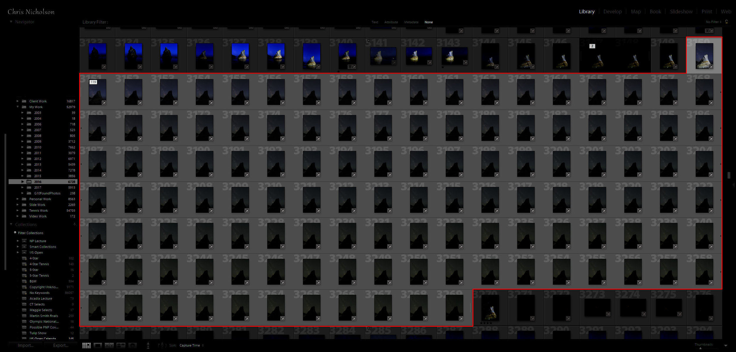 Figure 6. The entire 120-frame sequence in Lightroom.