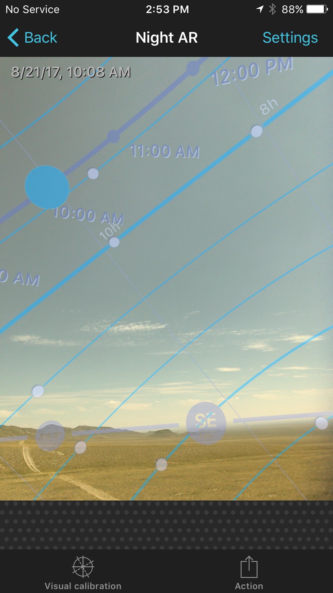 Figure 2. PhotoPills' VR overlay of the path of the sun over the Beaverhead Mountain Range.