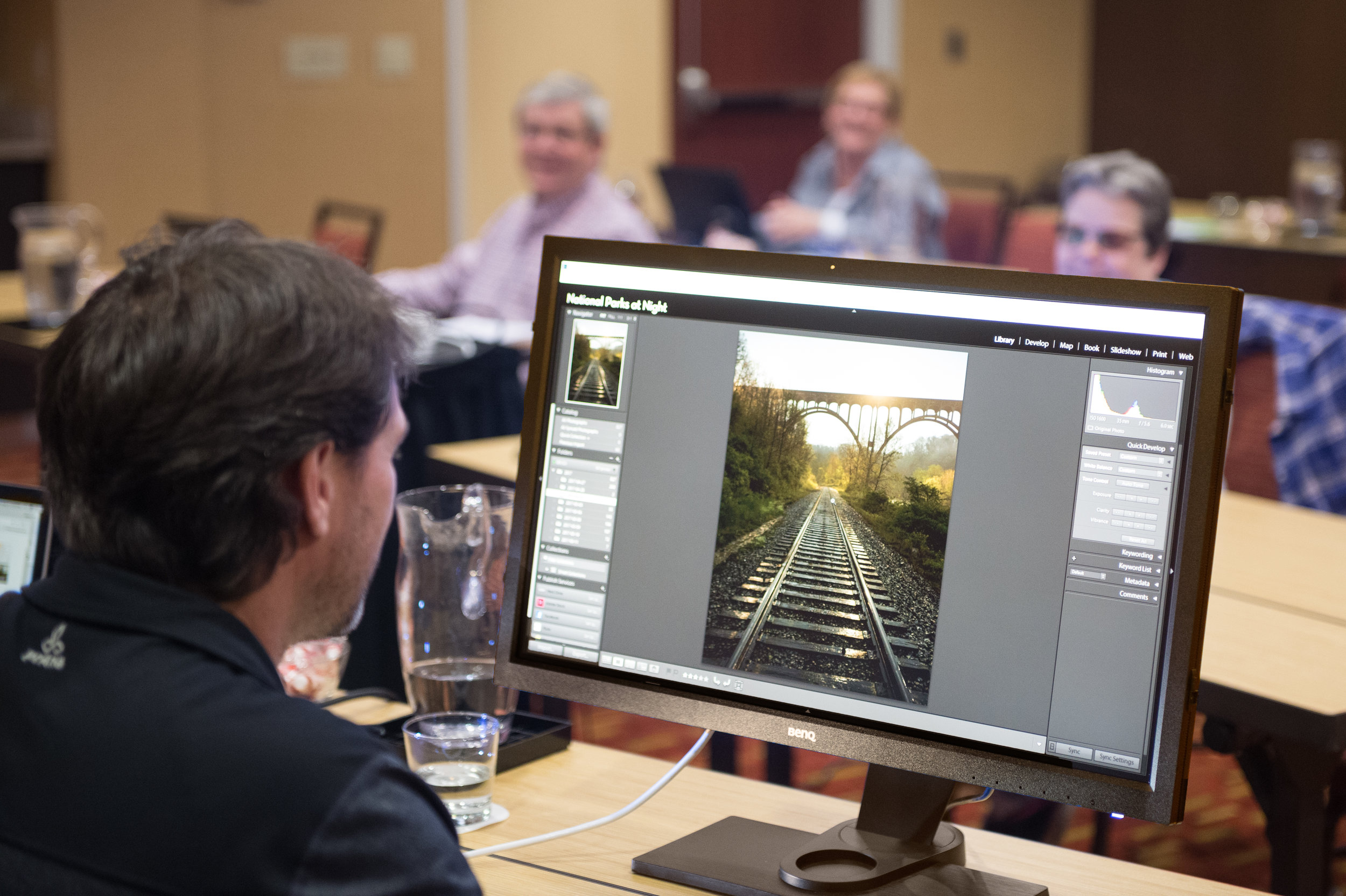 Working through post-production on a 27-inch  BenQ SW2700PT  monitor at our workshop in  Cuyahoga Valley National Park .