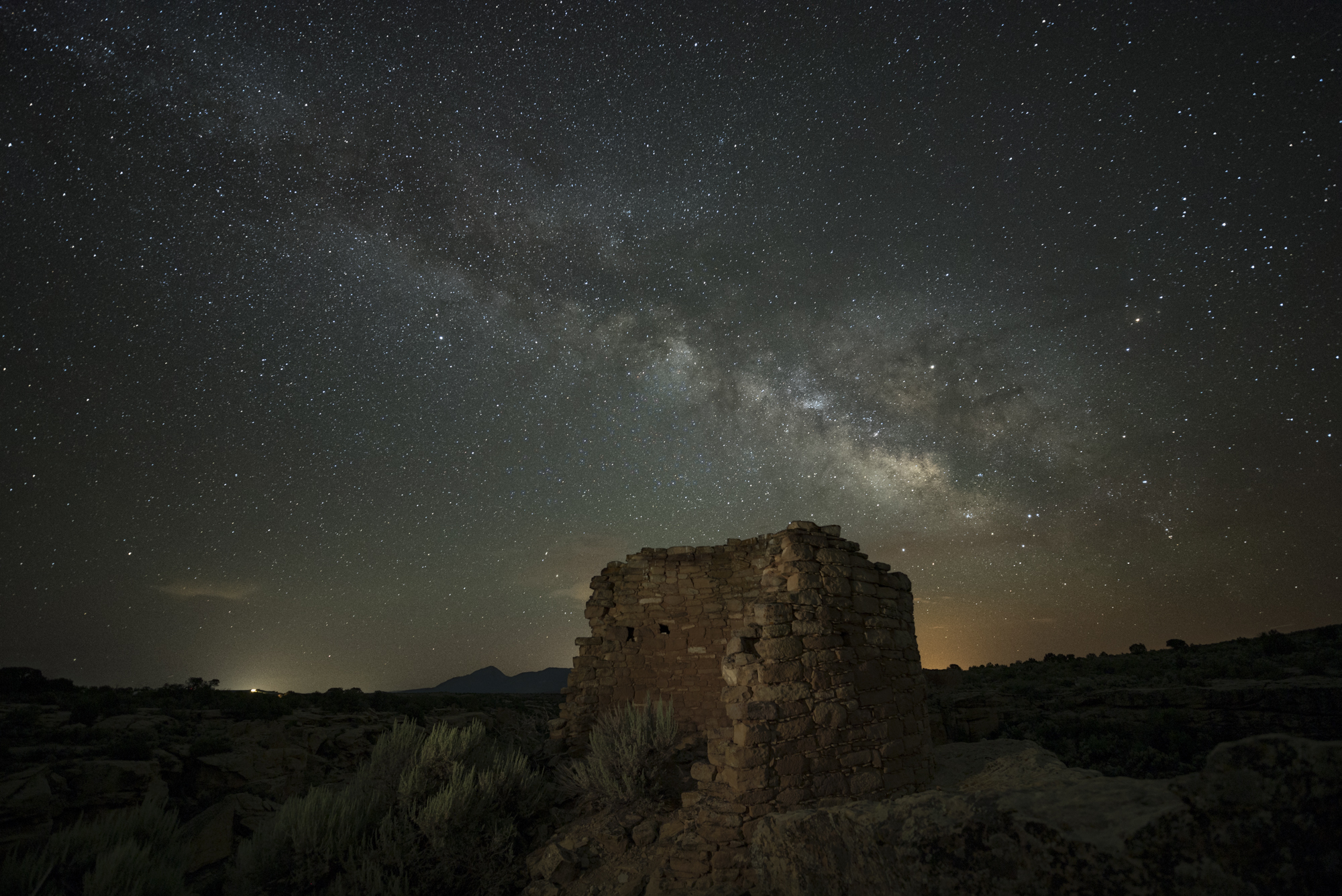 Figure 2. Tower Point at Hovenweep National Monument. Split exposure of 22 seconds and 480 seconds, f/2.8, ISO 400.