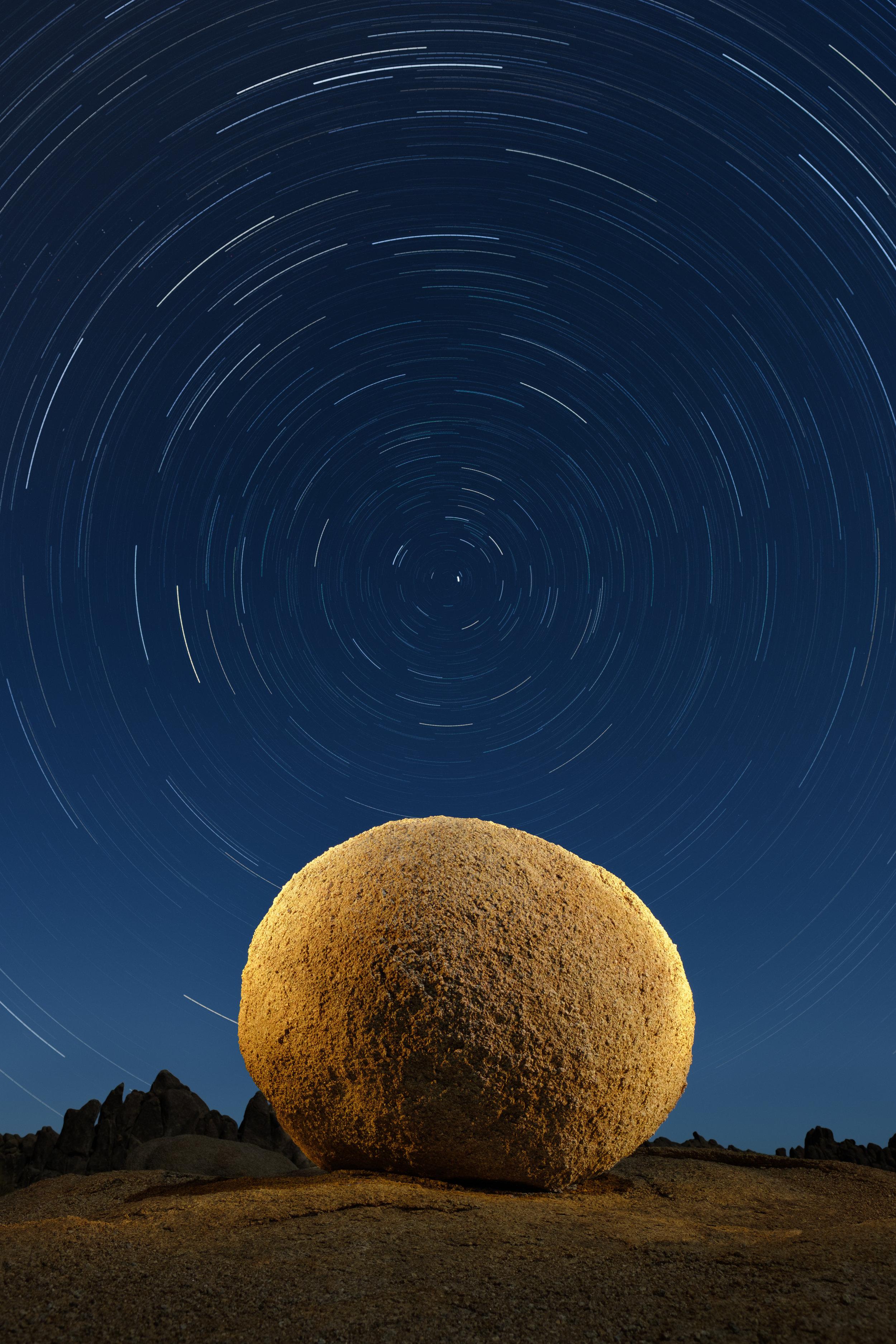 Alabama Hills, California. Fuji X-T2, 16mm f/1.4 lens. 23 exposures at 4 minutes, f/5.6, ISO 100.