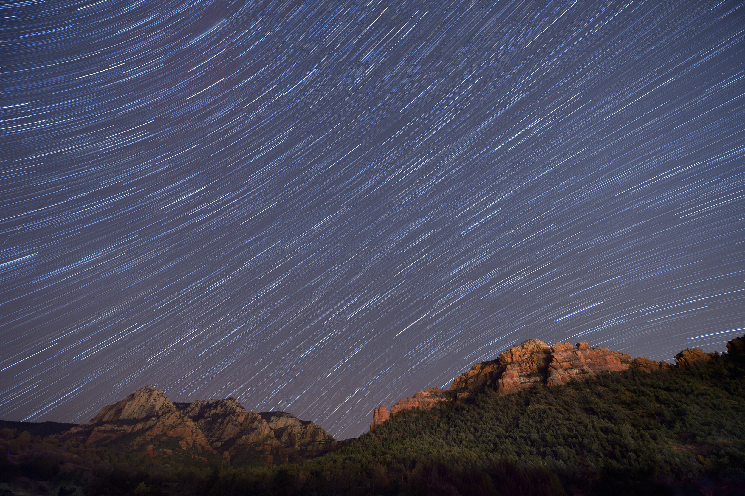 Sedona, Arizona.  Nikon D4s , 14-24mm f/2.8 lens set at 14mm. Eight exposures at 4 minutes, f/4, ISO 200.