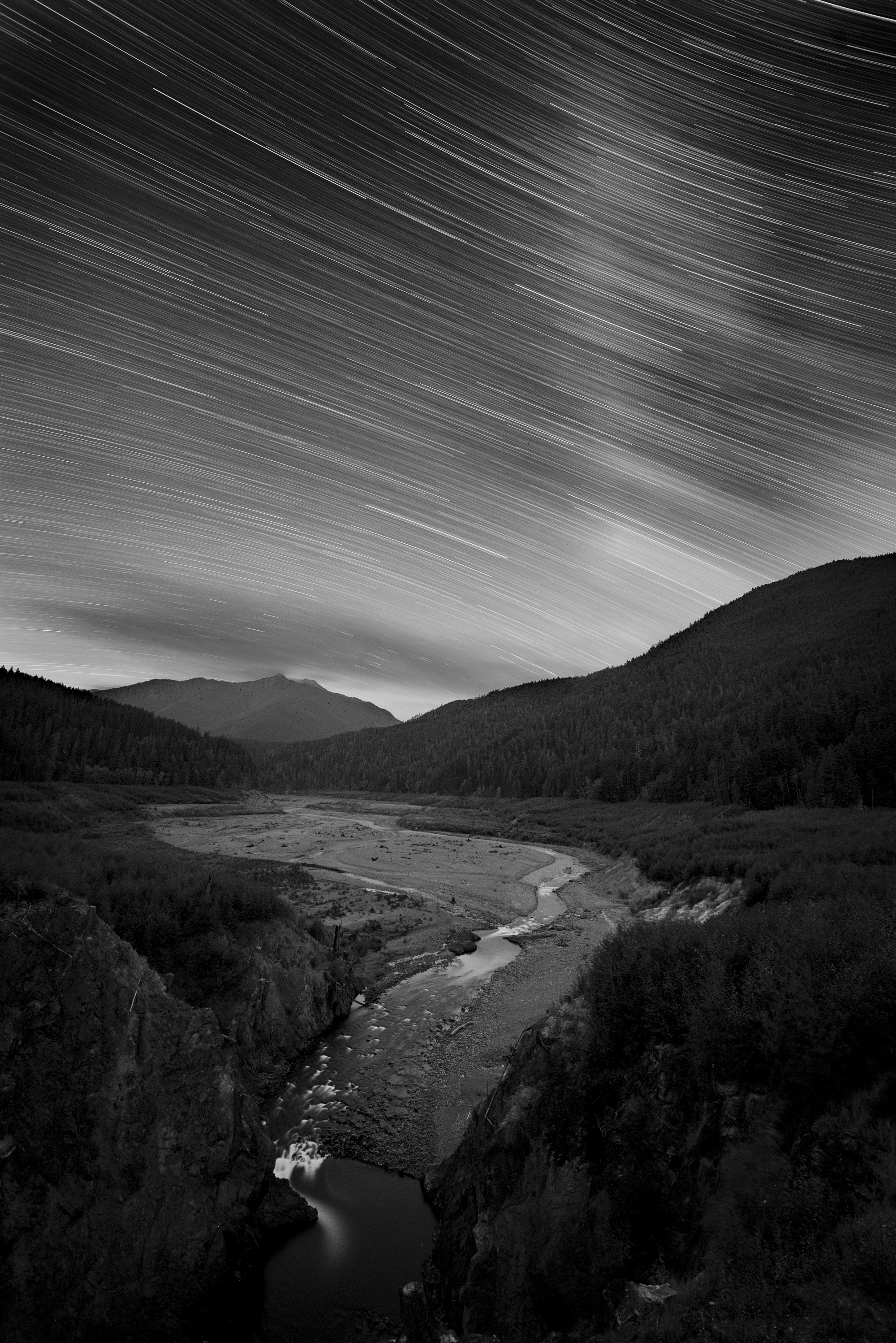 Elwha Valley, Olympic National Park. Nikon D750, Zeiss Distagon 15mm Zeiss Distagon f/2.8 lens . 60 minutes, f/5.6, ISO 400, plus LENR.