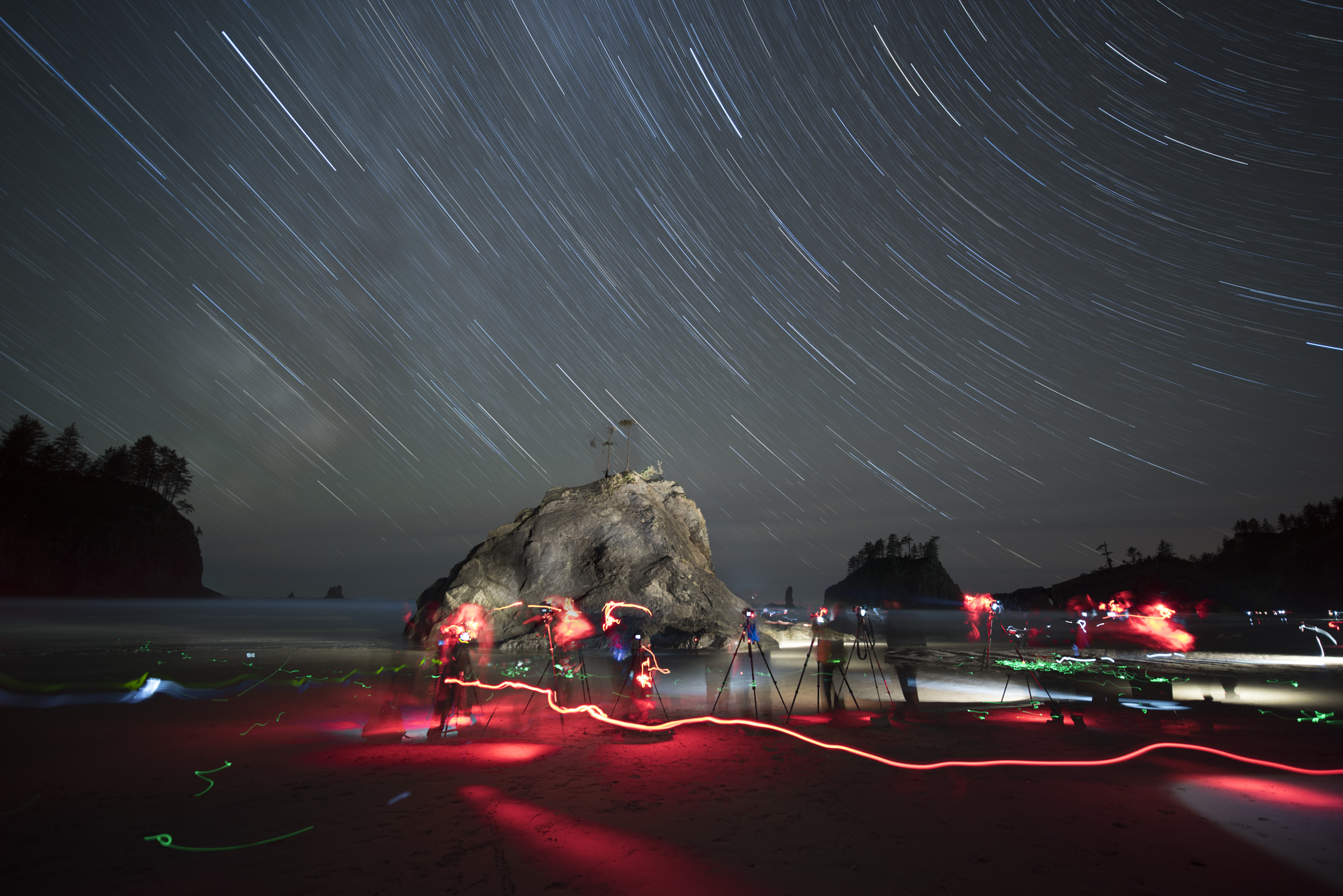 A time-lapse of a group of photographers at Olympic National Park. That's a lot of light! Photo by Matt Hill.