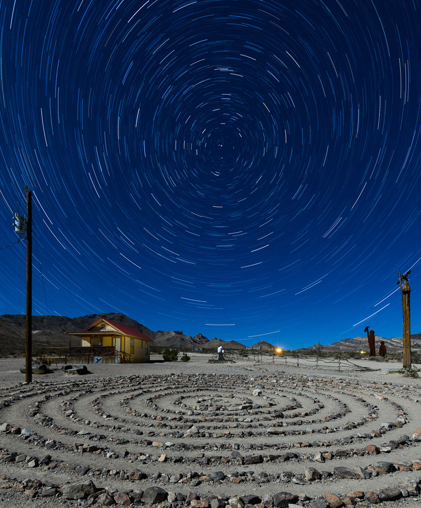 At the Goldwell Open Air Museum just outside of Death Valley National Park, I used hyperfocal distance to know that if I focused 3 feet, 10 inches away, then everything from about 2 feet to infinity would be sharp. Nikon D850 with a Nikon 14-24mm f/2.8 lens. 23 stacked exposures shot at 2 minutes, f/5.6, ISO 250.