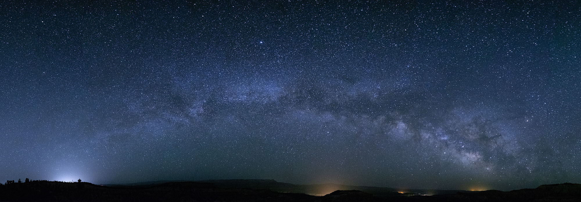 New moon. Stitched panorama. Fuji X-T2  with  10-24mm f/4  lens at 16mm. 30 seconds, f/4, ISO 6400.