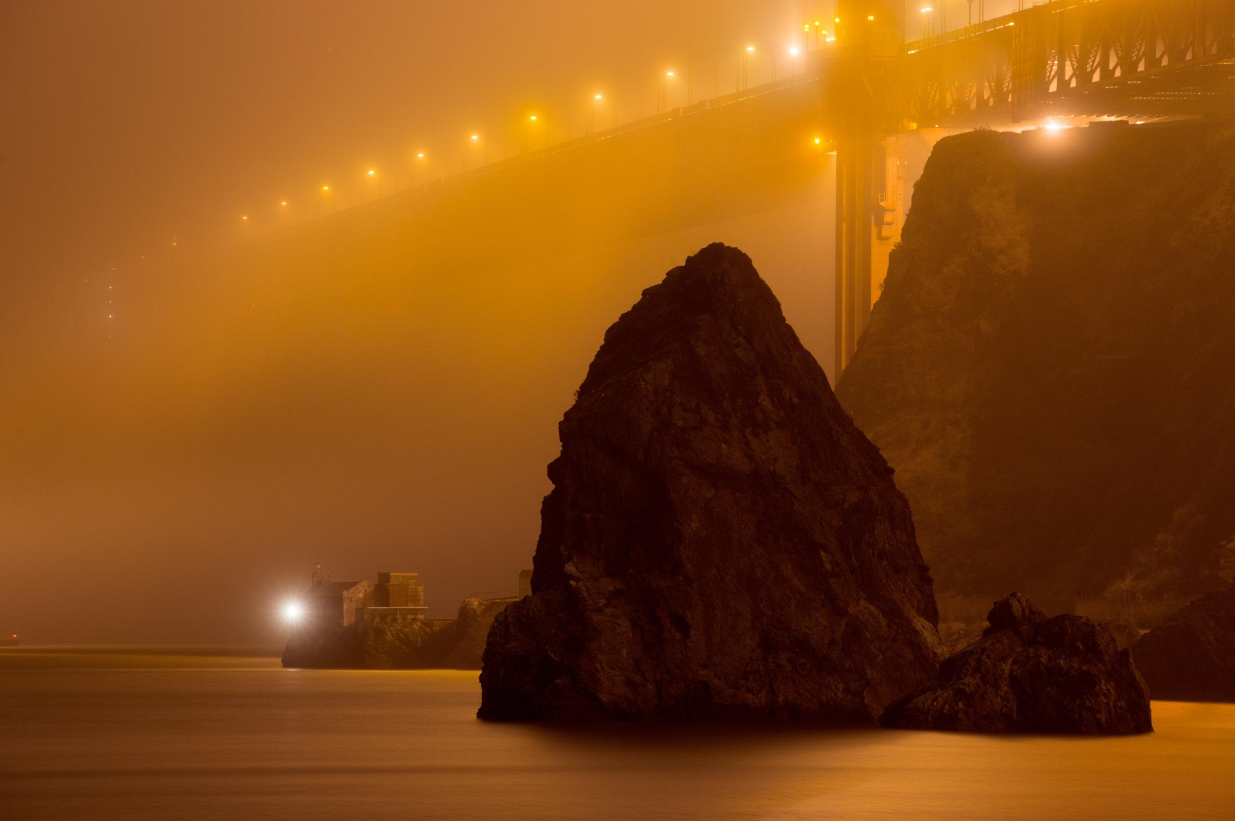 Lime Point Light House, Night, Fog