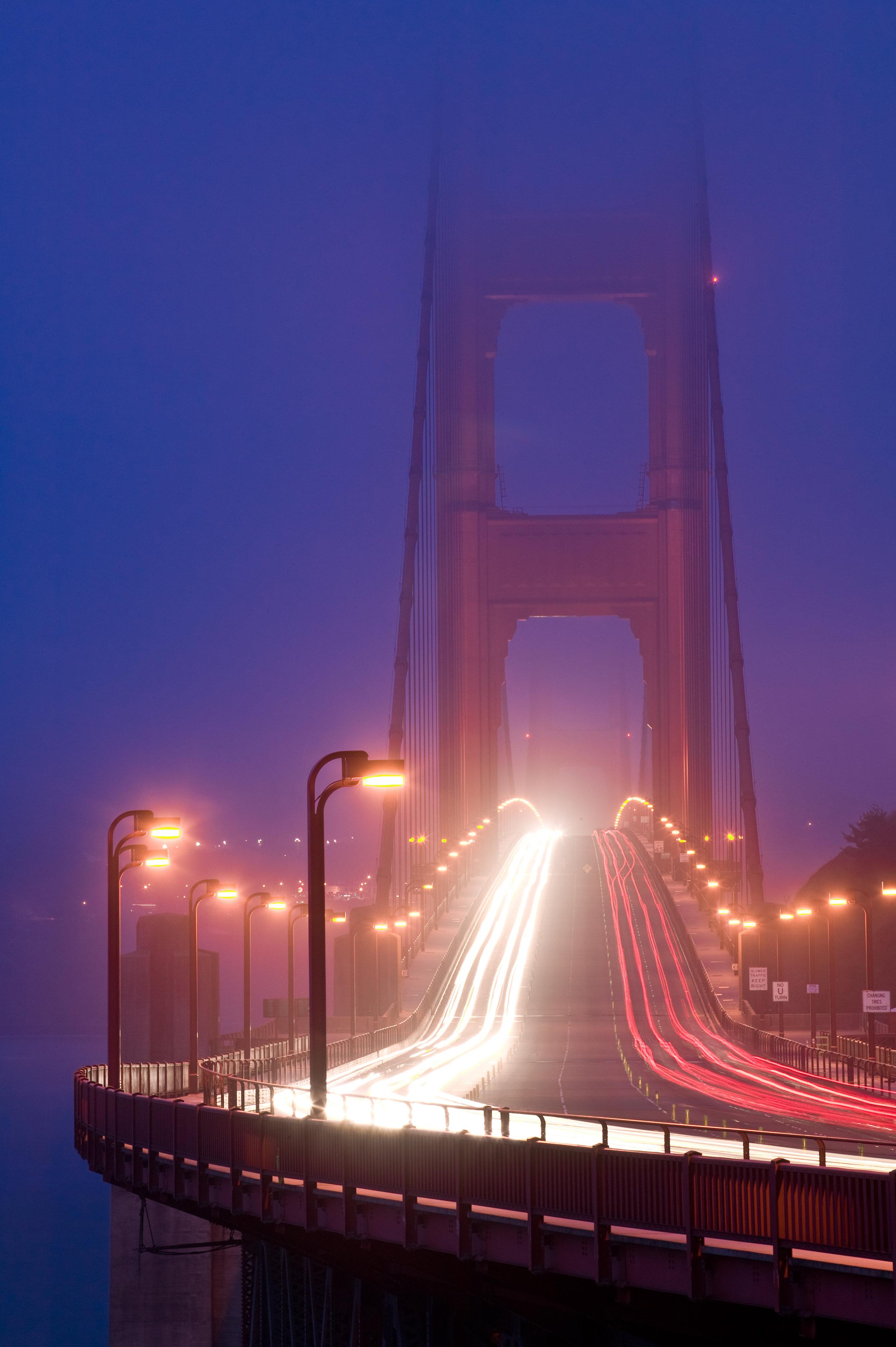 Golden Gate Bridge, Car Trails, Fog