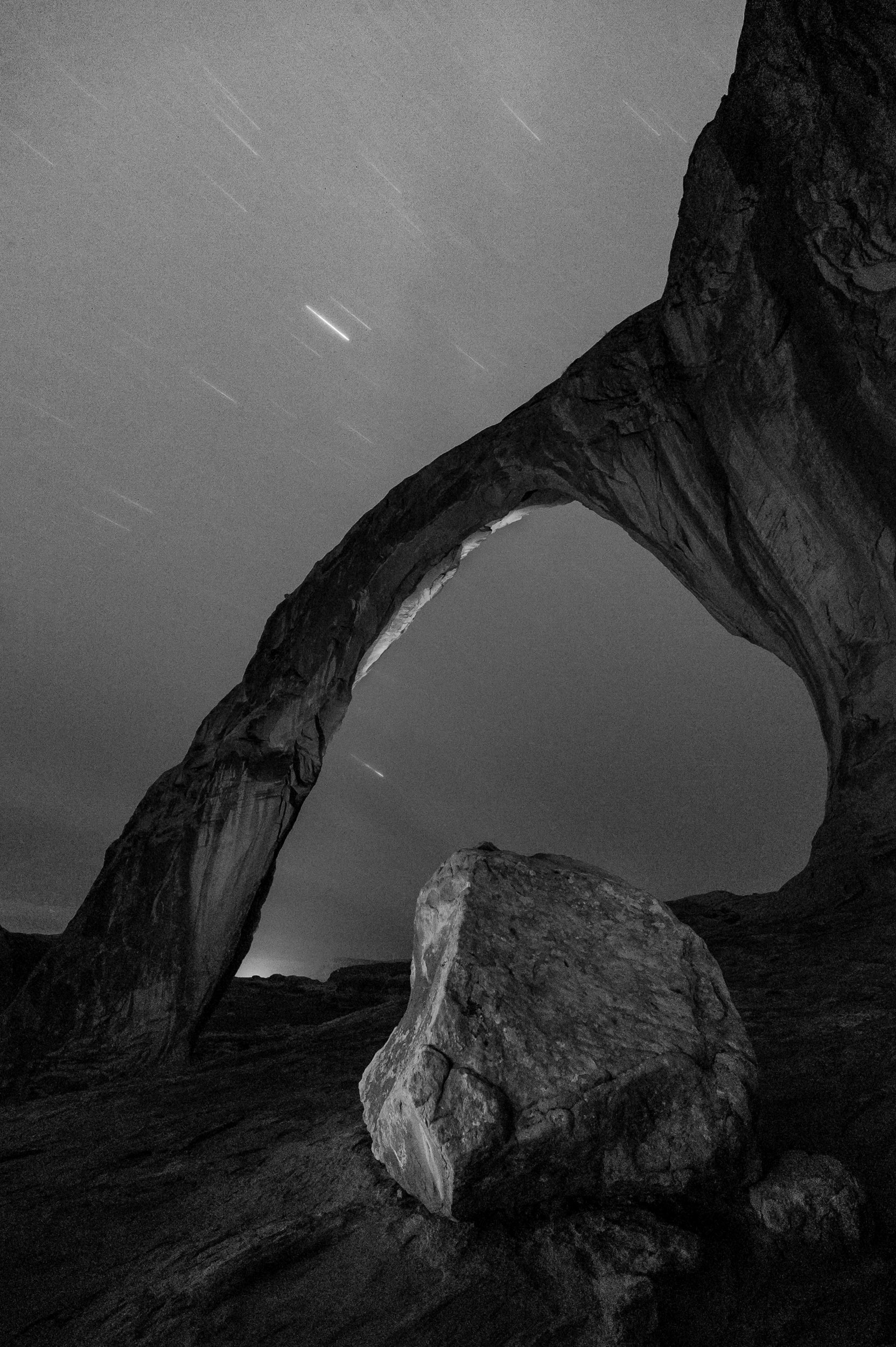 Corona Arch, Moab, Utah—the better (I think) of my two setups from the location. Nikon D3s, Irix 15mm f/2.4 lens. 985 seconds, f/5.6, ISO 2500.