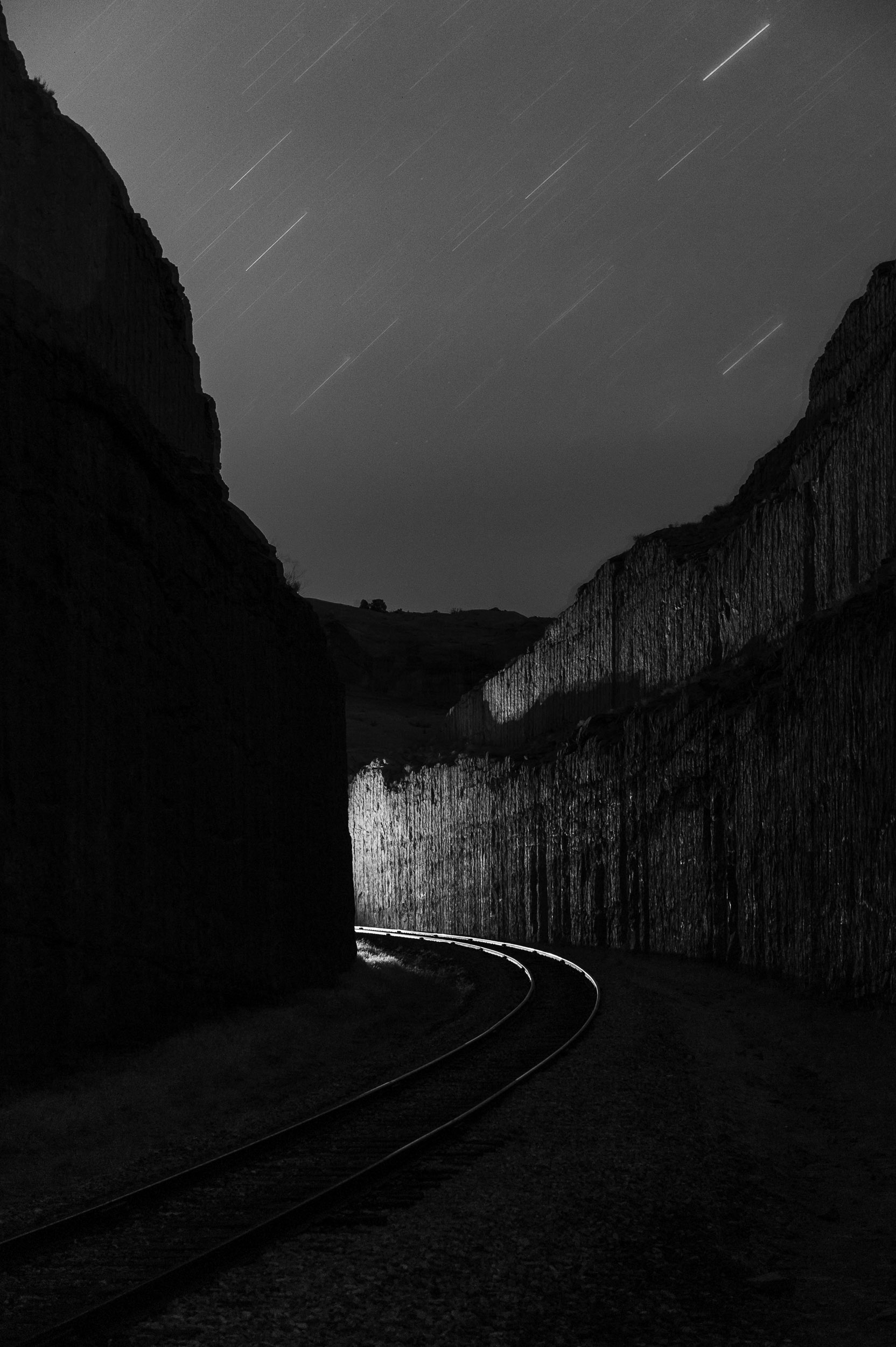 Union Pacific Railroad Potash Rail, along the Corona Arch Trail, Moab, Utah. Nikon D3s,  24-70mm f/2.8 . 498 seconds, f/4, ISO 800.