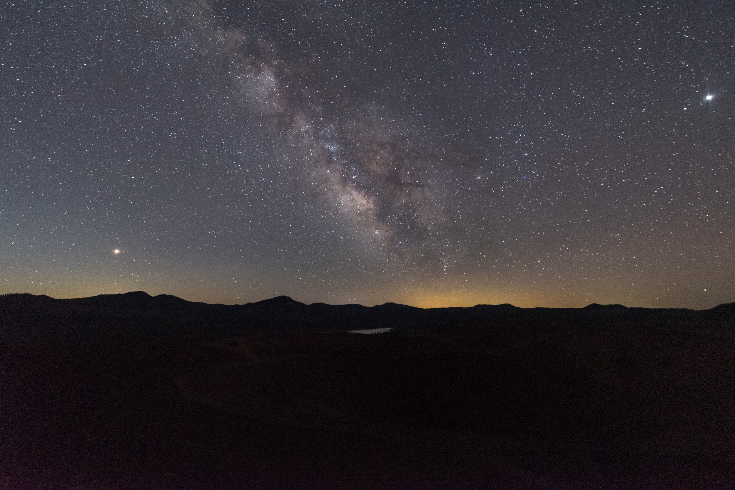 Test image looking across Cinder Cone to the Milky Way, Mars, Saturn and Jupiter. Nikon D750, Irix 15mm f/2.4 lens. 25 seconds, f/3.2, ISO 6400.