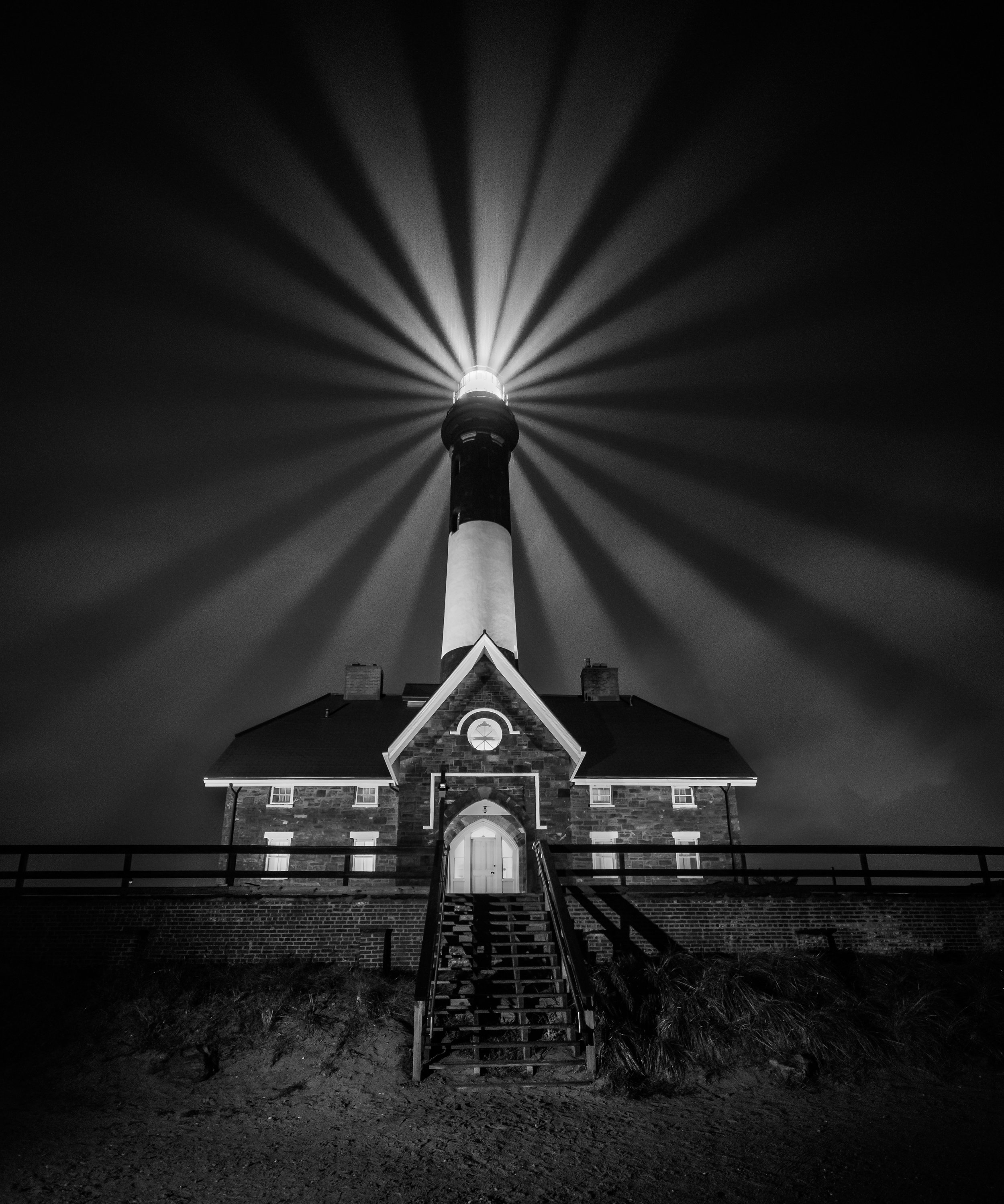 Fire Island Lighthouse. Nikon D750,  Irix 15mm f/2.4  lens. Multiple exposures at 1/2 second, f/2.4, ISO 6400.