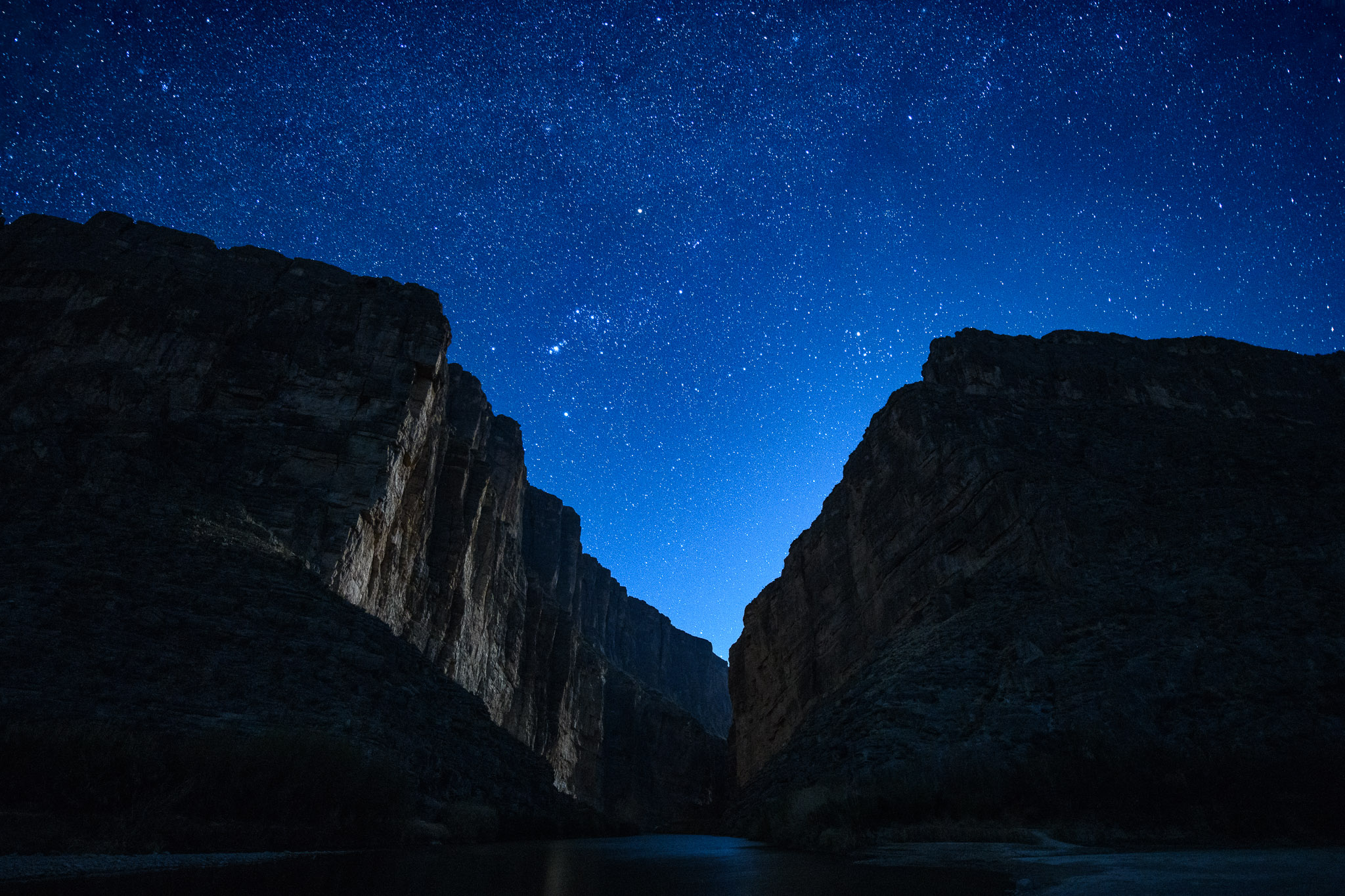 Moonlight in Santa Elena Canyon, Big Bend National Park.  Nikon D850 , Nikon 14-24mm f/2.8 lens at 17mm. 20 seconds, f/2.8, ISO 5000.