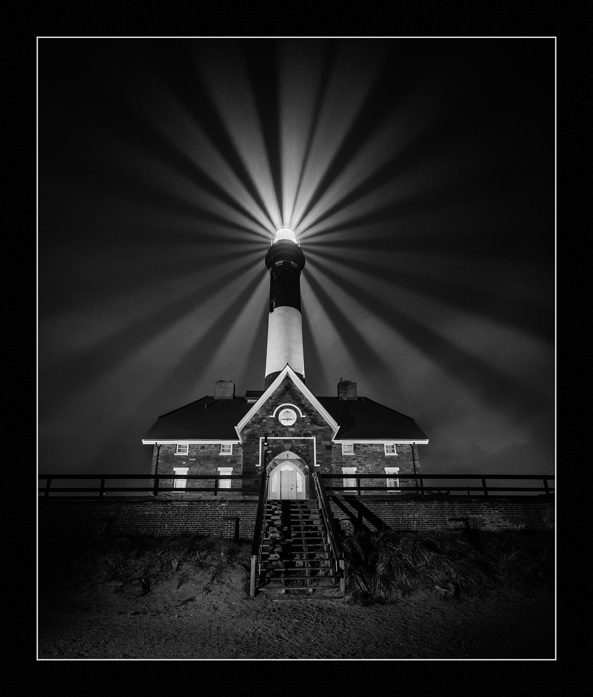 Fire Island Lighthouse.  Nikon D750 ,  Irix 15mm f/2.4  lens. Nine exposures at 1/2 second, f/2.4, ISO 6400.