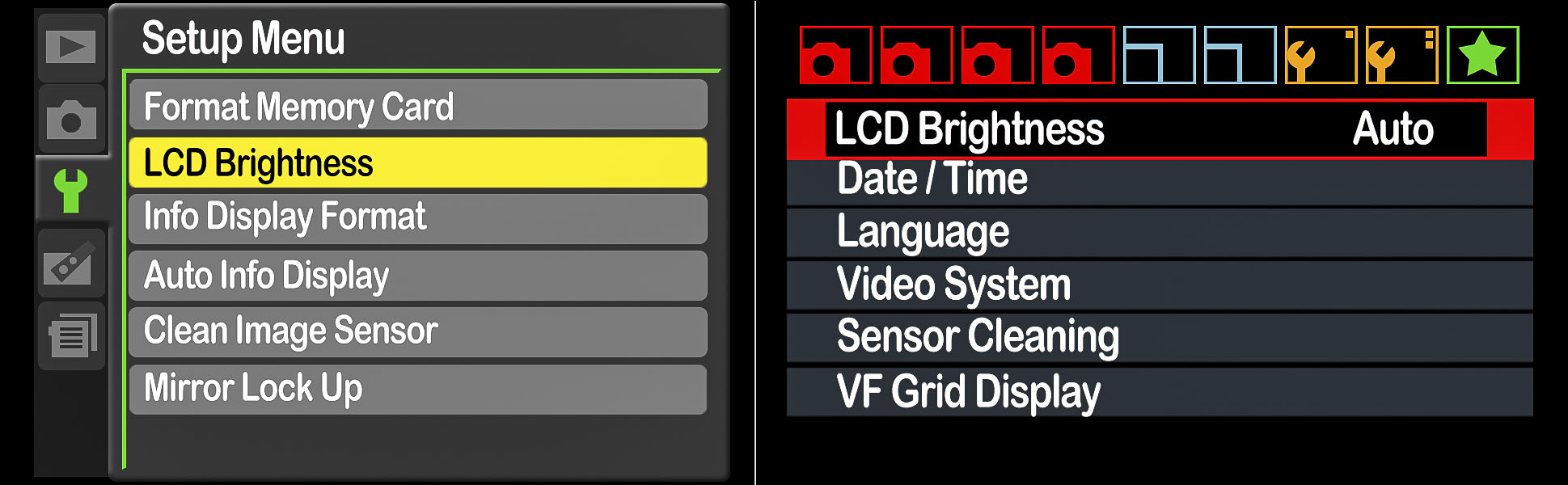 Figure 1. The LCD Brightness settings in Nikon (left) and Canon menus.