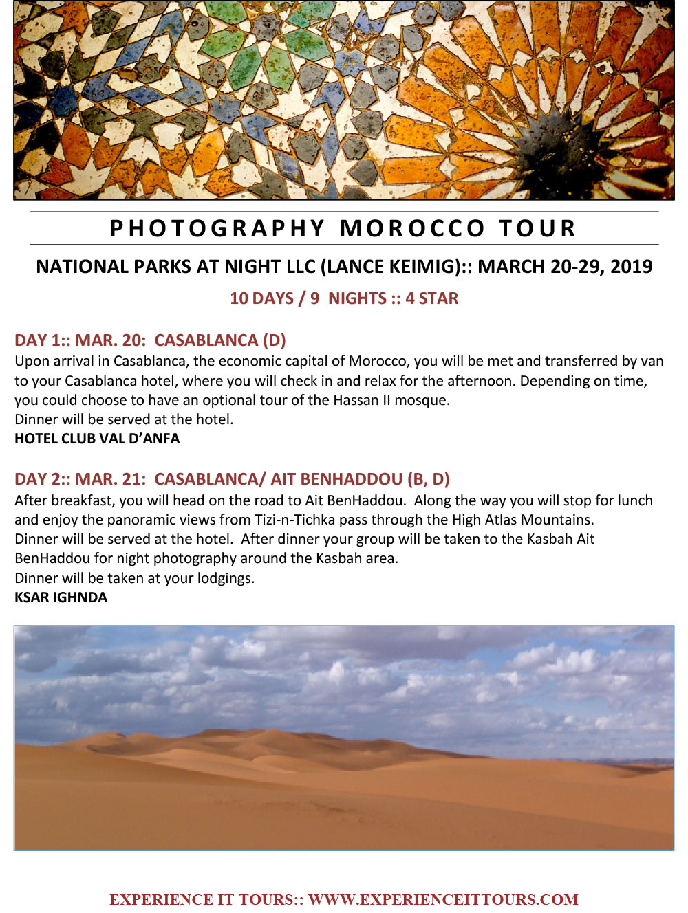 Morocco Essential Documents — National Parks at Night