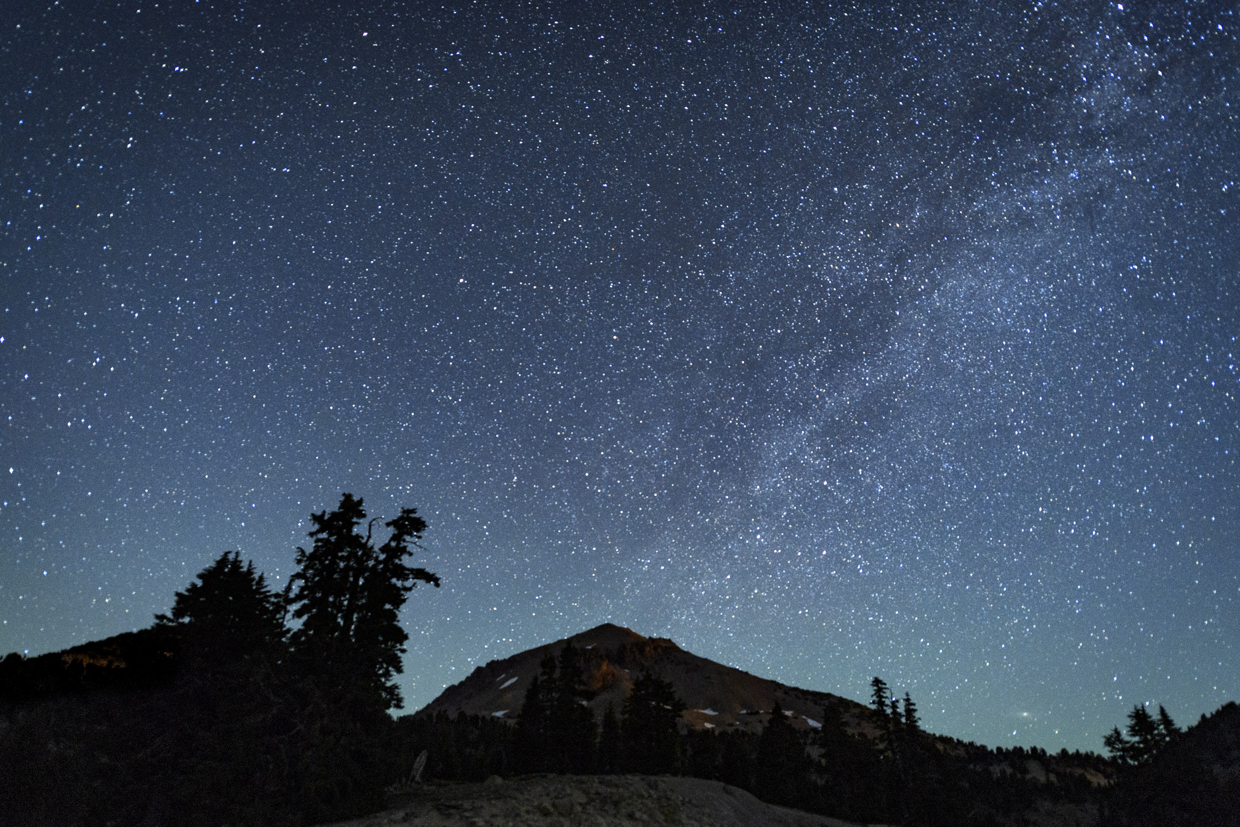 Figure 12. Tail end of the Milky Way over Lassen Peak. Nikon D5 with a Nikon 14-24mm f/2.8 lens. 20 seconds, f/2.8, ISO 8000.
